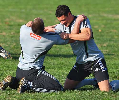New Zealand's Dan Carter and Corey Jane pictured in training