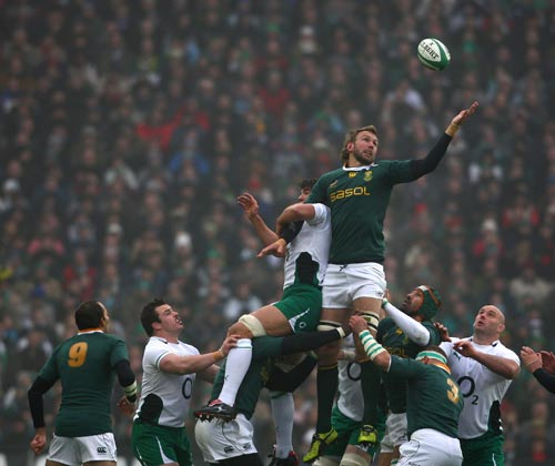 South Africa lock Andries Bekker claims a lineout