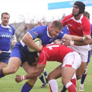 Namibia captain Kees Lensing takes on the Tunisia defence, Namibia v Tunisia, Rugby World Cup 2011 qualifier, Windhoek, Namibia, November 28, 2009