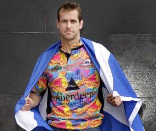 Edinburgh fullback Chris Paterson models his side's colourful new change shirt, Lauriston Place Novotel, Edinburgh, November 29, 2009