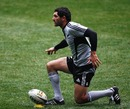 New Zealand's Stephen Donald practices his goal-kicking