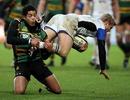 Northampton's Joe Ansbro tackles Bath's Michael Stephenson