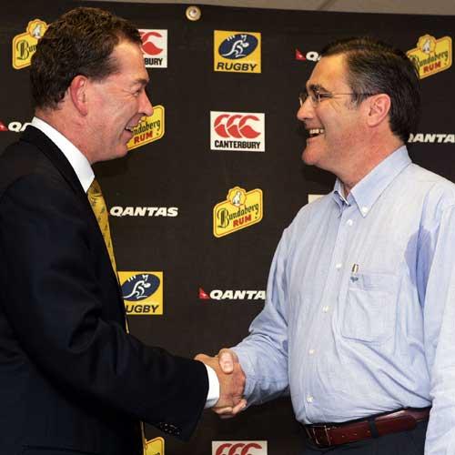ARU Managing Director Gary Flowers congratulates Western Australian Premier Dr.Geoff Gallop