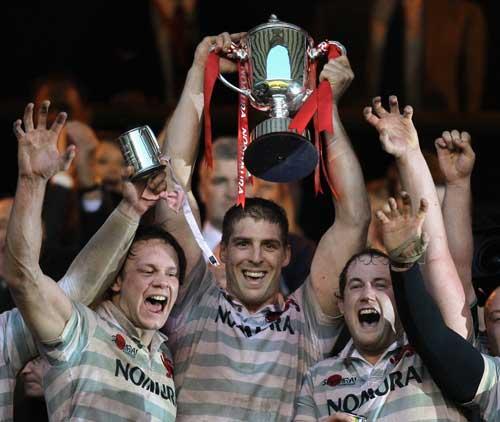 Cambridge skipper Dan Vickerman lifts the Varsity Match trophy