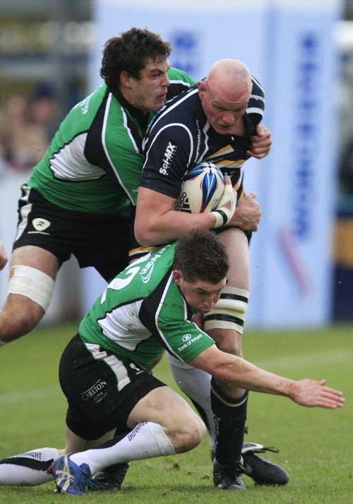 Worcester lock Craig Gillies is swamped