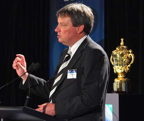 RNZ 2011 chief executive Martin Snedden announces the RWC'11 bases