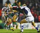 Leicester's Alesana Tuilagi takes on Clermont's Aurelien Rougerie