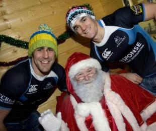 Glasgow Warriors' Max Evans and Kelly Brown meet Santa