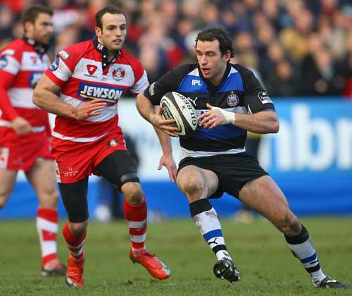 Bath's Matt Carraro looks for an opening in the Gloucester defence