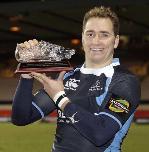 Glasgow's Dan Parks celebrates breaking the 1,000 Celtic League points barrier