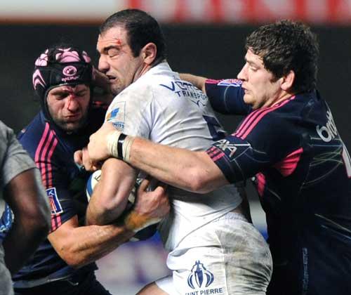 Montpellier lock Mamuka Gorgodze crashes into the Stade defence