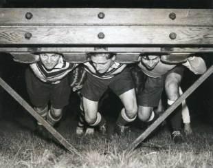 Sale practice their scrummaging, c.1937