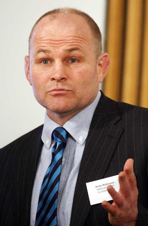 Scotland coach Andy Robinson talks at a Parliamentary reception