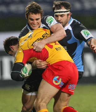 Glasgow's Thom Evans makes a tackle