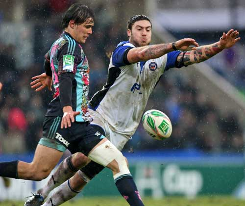 Stade Francais' Ignacio Mieres clears his lines under pressure from Bath's Matt Banahan, Stade Francais v Bath, Heineken Cup, Stade jean Bouin, Paris, France, January 16, 2010