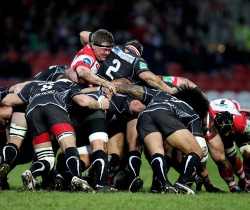 Gloucester's Greg Somerville stands up in the scrum