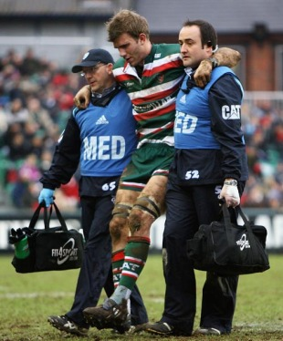 Leicester's Tom Croft is helped off after injuring his knee, Leicester Tigers v Viadana, Heineken Cup, Welford Road, Leicester, England, January 16, 2010