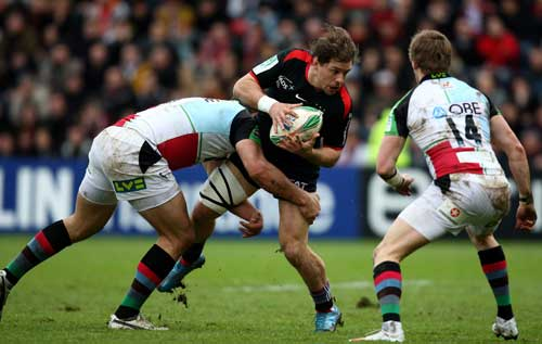 Toulouse wing Cedric Heymans is tackled