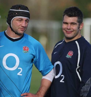 England's Steve Borthwick and Nick Easter take a break in training, England training session, Bank of England Sportsground, Roehampton, England, November 21, 2008