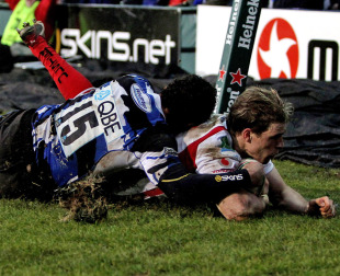 Ulster's Andrew Trimble slides in to score a try, Bath v Ulster, Heineken Cup, The Recreation Ground, Bath, England, January 23, 2010