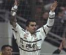 Brive wing Sebastien Carrat celebrates a try