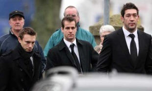 Scottish internationals Mike Blair, Chris Paterson and Nathan Hines attend the funeral of former commentator Bill McLaren in Hawick, Scotland, January  25, 2009