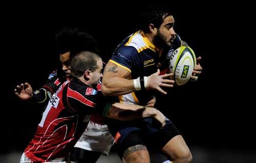 Leeds' Henry Fa'afili is tackled