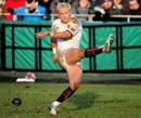 England Saxons fly-half Shane Geraghty slots a kick