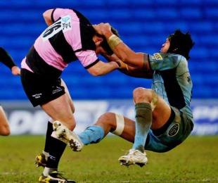 Cardiff Blues' Ma'ama Molitika tackles Newcastle's Rob Vickers
