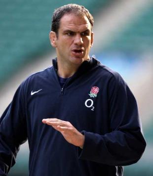 England manager Martin Johnson offers some instruction, England training session, Twickenham, England, February 5, 2010