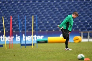 Ireland's Brian O'Driscoll warms up during a training session, RDS, Dublin, Ireland, February 2, 2010