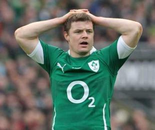 Ireland's Brian O'Driscoll takes a breather, Ireland v Italy, Six Nations Championship, Croke Park, Dublin, Ireland, February 6, 2010