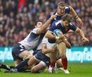 France's Vincent Clerc tries to escape the Scotland defence