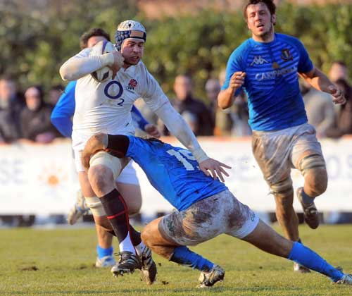 England Saxons' Dave Attwood  takes on Italy 'A'