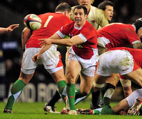 Wales scrum-half Gareth Cooper spins the ball