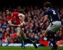 Wales fly-half Stephen Jones looks to pass