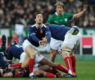 France scrum-half Morgan Parra releases his back-line, France v Ireland, 6 Nations, Stade de France, Paris, France, February 13, 2010