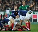 France scrum-half Morgan Parra releases his back-line