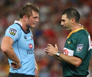 Dean Mumm talks to the referee before being yellow carded, Reds v Waratahs, Super 14, Suncorp Stadium, Brisbane, February 13, 2010