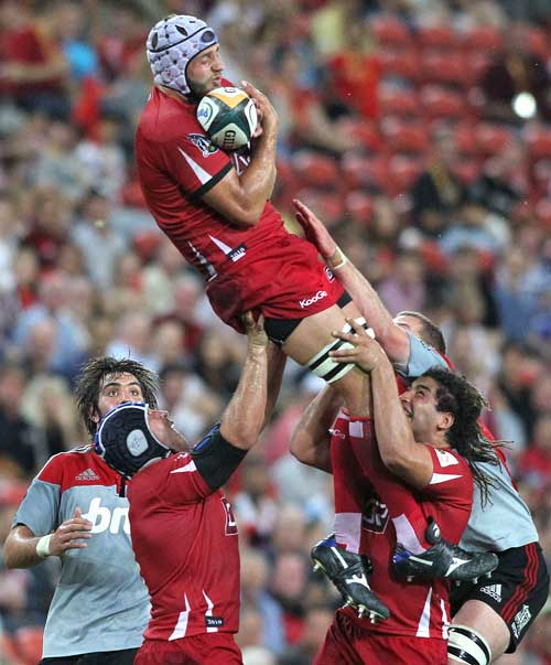The Reds' Adam Byrnes claims a lineout