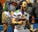 Leeds scrum-half Scott Mathie celebrates his try