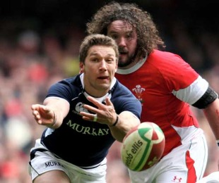 Scotland scrum-half Chris Cusiter passes, Wales v Scotland, Six Nations, Millennium Stadium, February 13, 2010