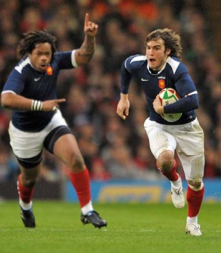 France's Alexis Palisson capitalises on an interception, Wales v France, Six Nations Championship, Millennium Stadium, Cardiff, Wales, February 26, 2010