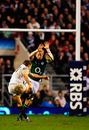 Jonny Wilkinson lands a drop goal for England