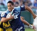 Blues fly-half Stephen Brett attacks the Hurricanes' line