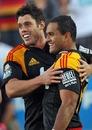 The Chiefs' Callum Bruce and Lelia Masaga celebrate a try