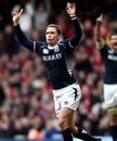 Scotland fly-half Dan Parks celebrates his long-range drop-goal