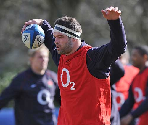 England flanker Joe Worsely warms up in training
